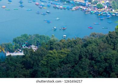Fewa lake view from top , down view of fewalake and boats Pokhara nepal