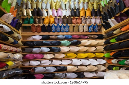 Fez, Medina - Circa August 2018 - A shot of beautiful and colorful Moroccan traditional leather shoes aka babouches displayed in one of the shops in Fez medina