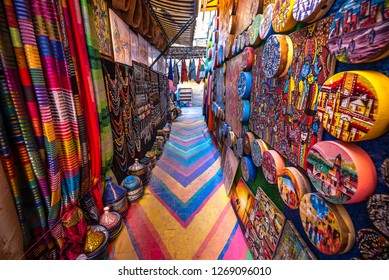 Fez, Morocco - 08 December, 2018: Colorful painted street in the medina of the old city of Fes. The ancient city and the oldest capital and one of the four Imperial cities of Morocco. UNESCO site