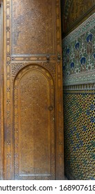 Fez, Morocco - 13.11.19: Exterior elements of Cherratine madrasa (medrasa) is islamic school,1670, and is known the oldest university in the world. It's name variations - Al Quaraouiyine, Al-Karaouine