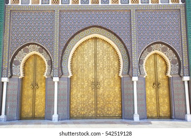 FEZ, MOROCCO - 15, September, 2016: Entrance doors to the Royal Palace. Fez, Morocco.