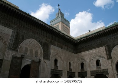 Fez Morocco Apr 3 2012, view of the minaret from the inner courtyard of Madrasa Bou Inania