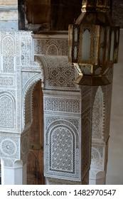 Fez Morocco Apr 5 2012, tadelakt columns in the courtyard at dar adiyel