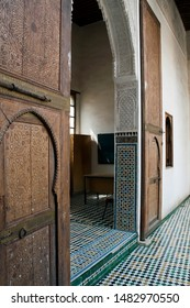 Fez Morocco Apr 5 2012, room entrance with decorative wooden doors at Dar Adiyel