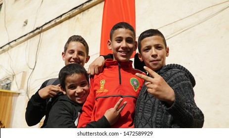 Fez, Morocco - April 17, 2018: Moroccan children waving their hands.