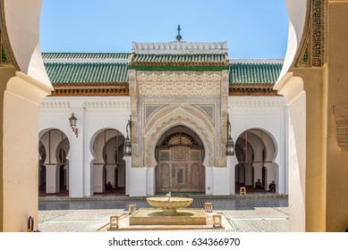 """FEZ, MOROCCO - APRIL 6,2017 - View at the courtyard University of Al Quaraouiyine in Fez. Fez city has been called the """"Mecca of the West"""" and the """"Athens of Africa""""."""