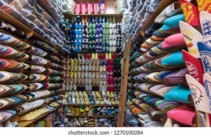 Fez, Morocco - Circa August 2018 - A shot of beautiful and colorful Moroccan traditional leather shoes aka babouches displayed in one of the shops in Fez medina