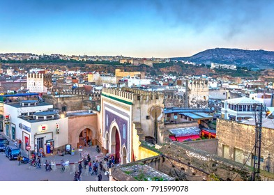 FEZ, MOROCCO - DECEMBER 10: Fez city medina old town skyline in twilight, Morocco. December 2016