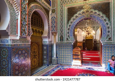 FEZ, MOROCCO - JUNE 02, 2017: View of the famous Zawiya of Moulay Idris II (contains the tomb of Idris II, who ruled Morocco from 807 to 828 and is considered the main founder of the city of Fes)