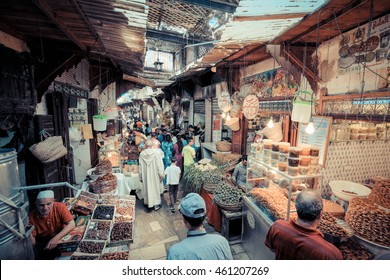 FEZ, MOROCCO, JUNE 2016: traditional shop in the old market. Street vendor in the old medina