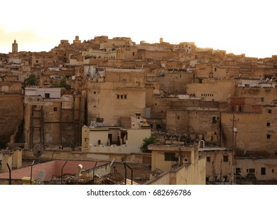 FEZ, MOROCCO - MAY 13, 2017: the skyline of ancient buildings in old city of Fez.