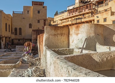 Fez, Morocco - October 24, 2017: People working at Chouara Tannery in Fez Morocco.