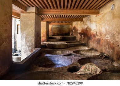 Fez, Morocco - October 24, 2017: Buildings at Chouara Tannery in Fez Morocco.