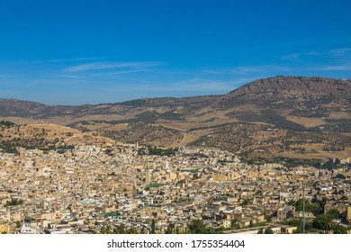 Fez, Morocco - October 7, 2019: Aerial view on medina of beautiful city Fes, Morocco