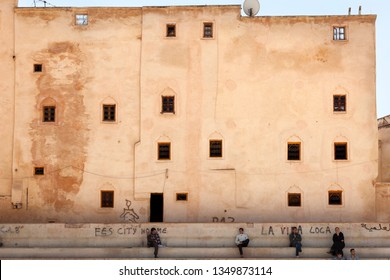 FEZ, MOROCCO-APRIL 24, 2014: Facade of an old building in Fez, Morocco, on April 24, 2014