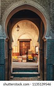 FEZ/MOROCCO-JUNE 2012: Life through the Arabic doors in the medina.