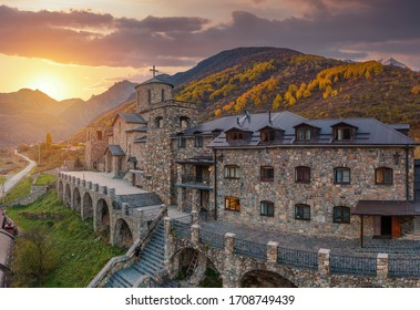 Fiagdon Monastery in North Ossetia. Mountains of the Caucasus