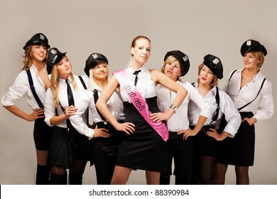 Fiance with hen party mates