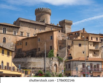 Fiano Romano / Italy -06 01 2019: Fiano Romano, small beautiful village in Metropolitan City of Rome with medieval houses and ancient Ducal Orsini Castle in the old town. Traditional Italian cityscape