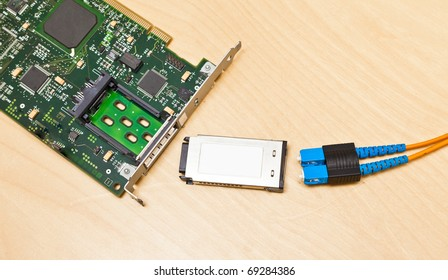Fiber channel card with gigabit interface converter and optical cable