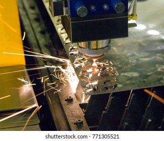 Fiber laser machines for metal cutting close-up. A laser beam cuts the sheet metal in the manufacture. Industrial technologies, production processes