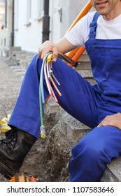 A Fiber optic broadband cable with worker