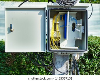 Fiber optic cable cabinet .  internet fiber optics cables and cabinet, splitter