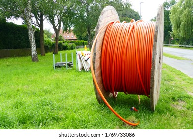 Fiber optic cable laying in the ground, buried cable for faster internet in rural region, city Neustadt, Hanover district, Germany