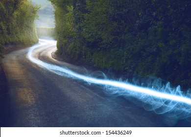 Fiber optic cable running above ground in the British Countryside