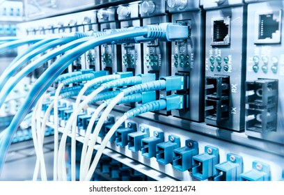 Fiber Optic cables connected to optic ports and UTP, Network cables connected to ethernet ports.