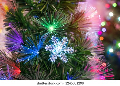 fiber optic decorated Christmas Tree with dectoration