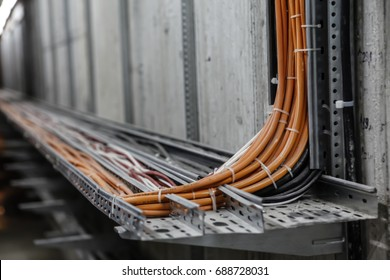 Fiber Optic Network Cables. Fibber channel optical network cables on rails