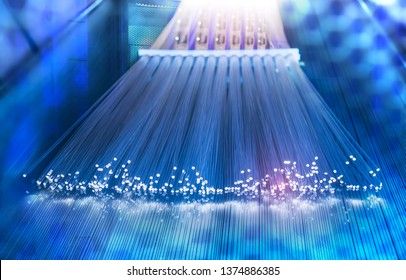 Fiber optics cable with lights abstract background
