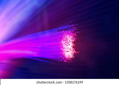 Fiber optics network cable lights abstract background