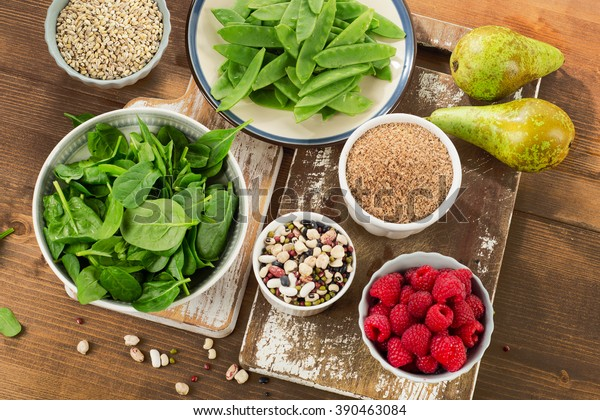 Fiber rich foods on wooden table. Healthy eating. Top view