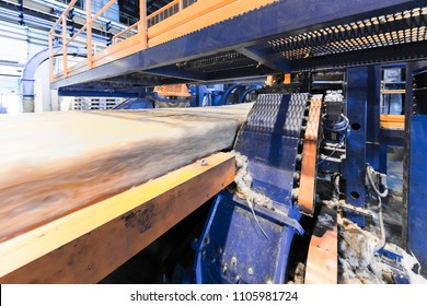 Fiberglass production industry equipment at manufacture background