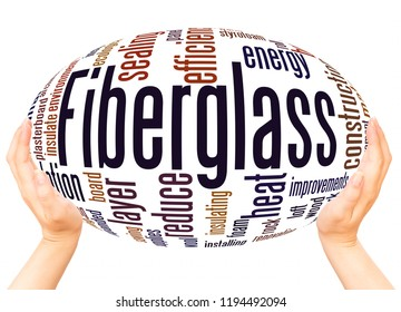 Fiberglass word cloud hand sphere concept on white background.