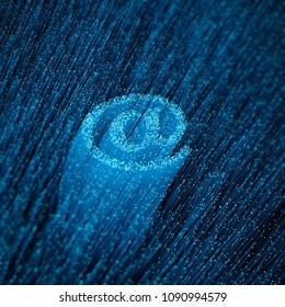 Fiber-optic email concept / 3D illustration of glowing optical fibres forming email symbol
