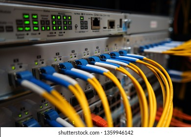 Fibre cables going in to a network switch