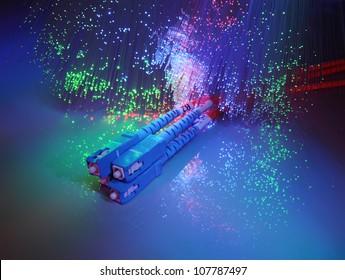 fibre optics on a technology background