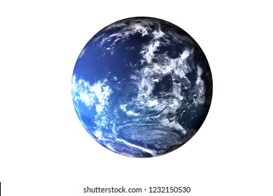 Fiction blue planet with atmosphere. Planet neptune of solar system isolated. Elements of this image furnished by NASA.