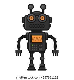 Fiction Robot on White Background. Illustration.