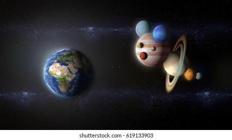 fictional Bee of planets flying toward earth (elements of this image are furnished by NASA)