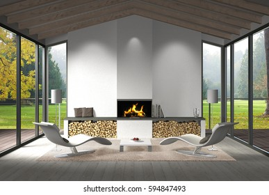fictitious 3D rendering of a modern living room interior with fire place and view to the garden