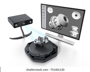 Fictitious 3D scanner isolated on white background. 3D illustration.