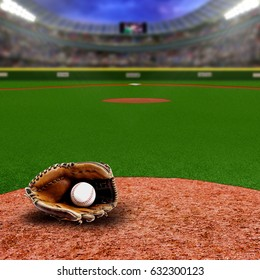 Fictitious baseball stadium full of fans in the stands with baseball glove and ball on infield dirt clay. Deliberate focus on foreground with shallow depth of field on background and copy space.