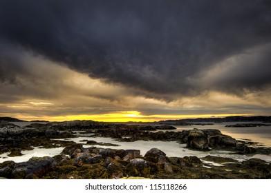 Fidden Farm sun set in HDR at Fidden Isle of Mull Scotland