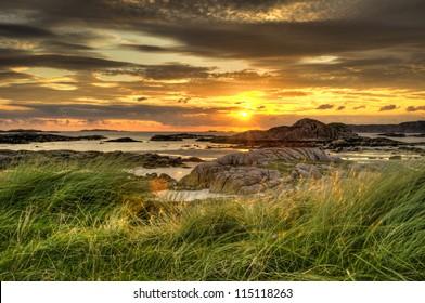 Fidden Farm sun set on the isle of Mull Scotland HDR.