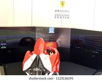 Fidenza , ITALY - JUNE , 23 : Public race car Simulator on Ferrari F1  at Fidenza Village  in  Italy on June 23, 2018