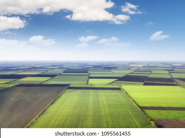 Field as a background. Agricultural landscape from air